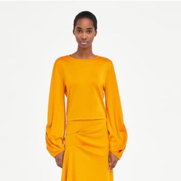 e6cf41e33d2c1 Zara yellow long sleeve crop top